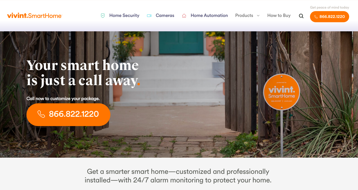 main page Vivint Home Security