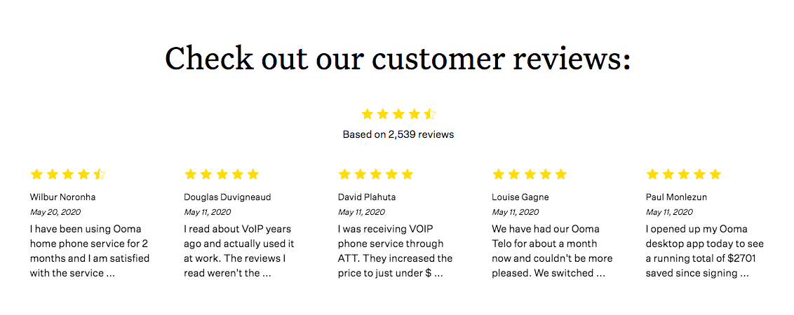 Ooma customer reviews